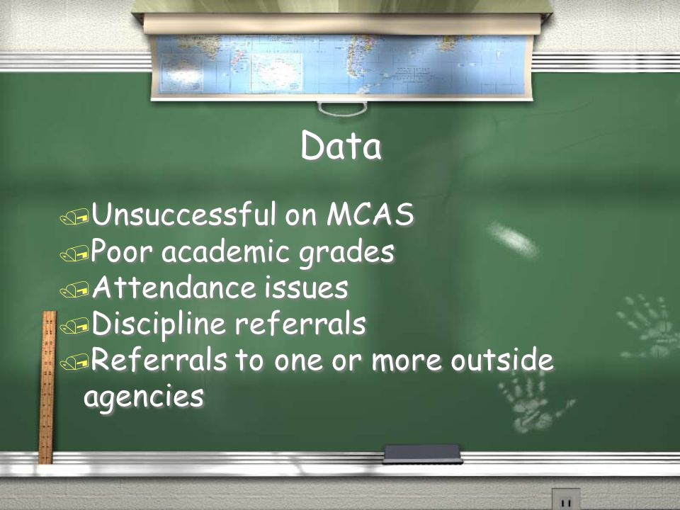 Data / Unsuccessful on MCAS / Poor academic grades / Attendance issues / Discipline referrals / Referrals to one or more outside agencies / Unsuccessf