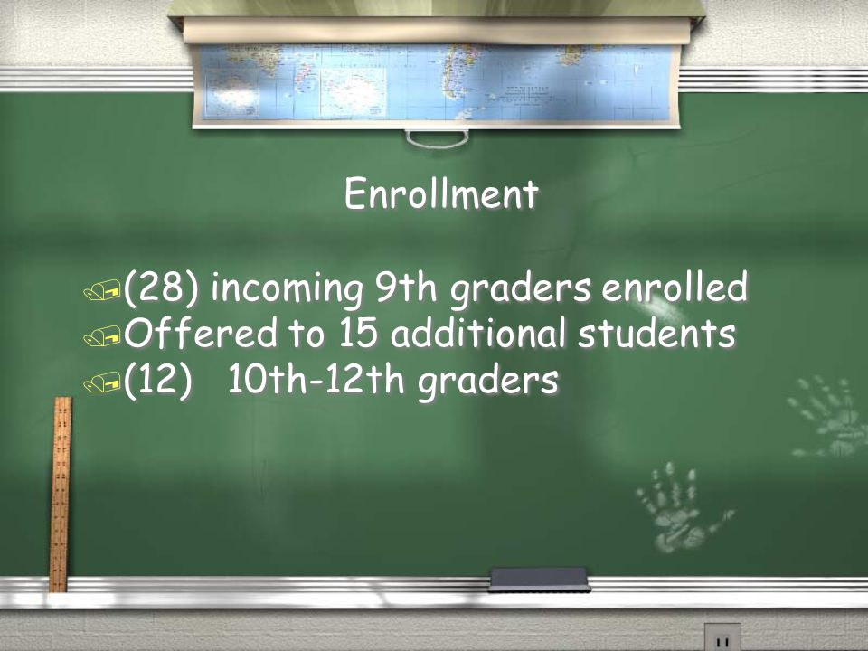 Enrollment / (28) incoming 9th graders enrolled / Offered to 15 additional students / (12) 10th-12th graders Enrollment / (28) incoming 9th graders en