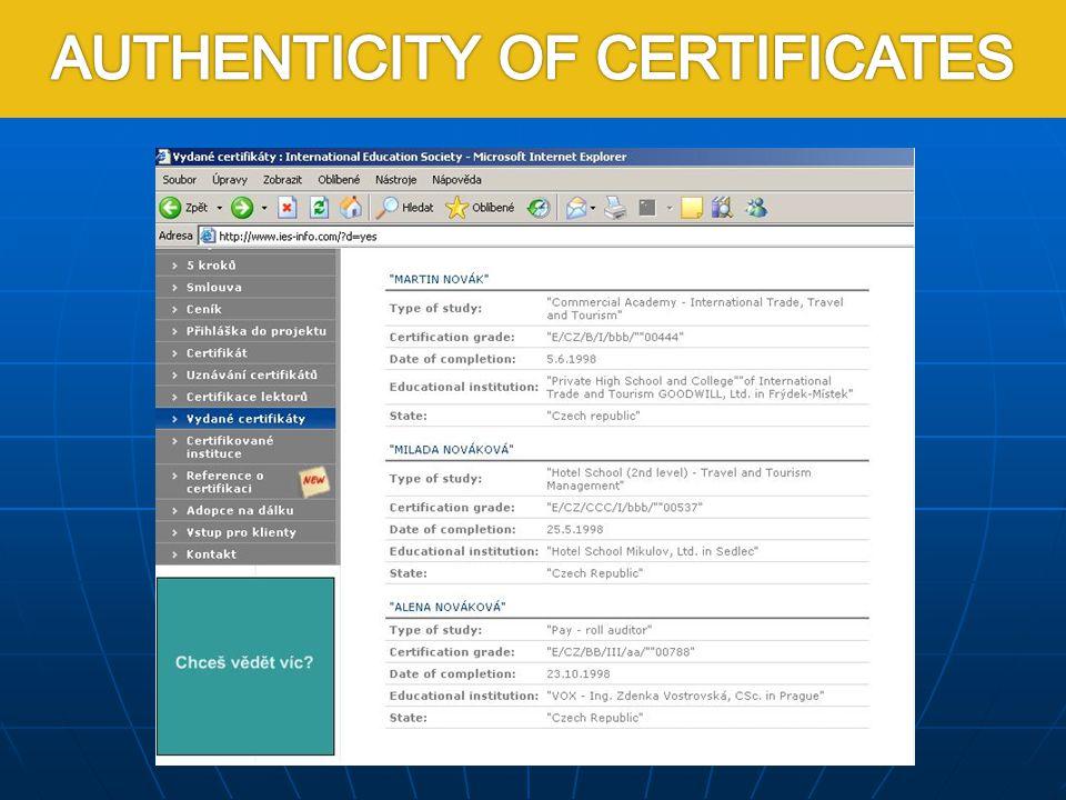 Pravost certifikátu