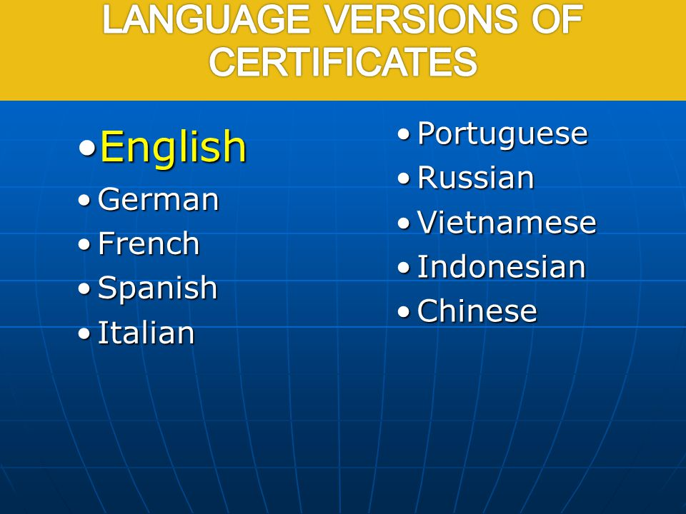 EnglishEnglish GermanGerman FrenchFrench SpanishSpanish ItalianItalian PortuguesePortuguese RussianRussian VietnameseVietnamese IndonesianIndonesian C