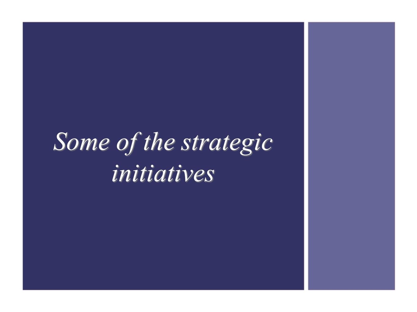 Some of the strategic initiatives