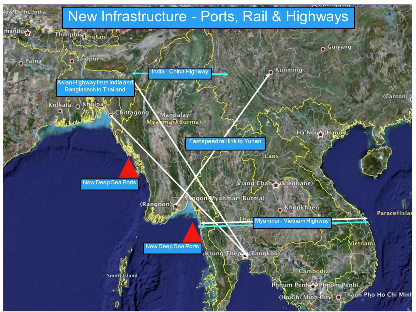 New Infrastructure - Ports, Rail & Highways India - China Highway Fast speed rail link to Yunan Asian Highway from India and Bangladesh to Thailand New Deep Sea Ports Myanmar - Vietnam Highway