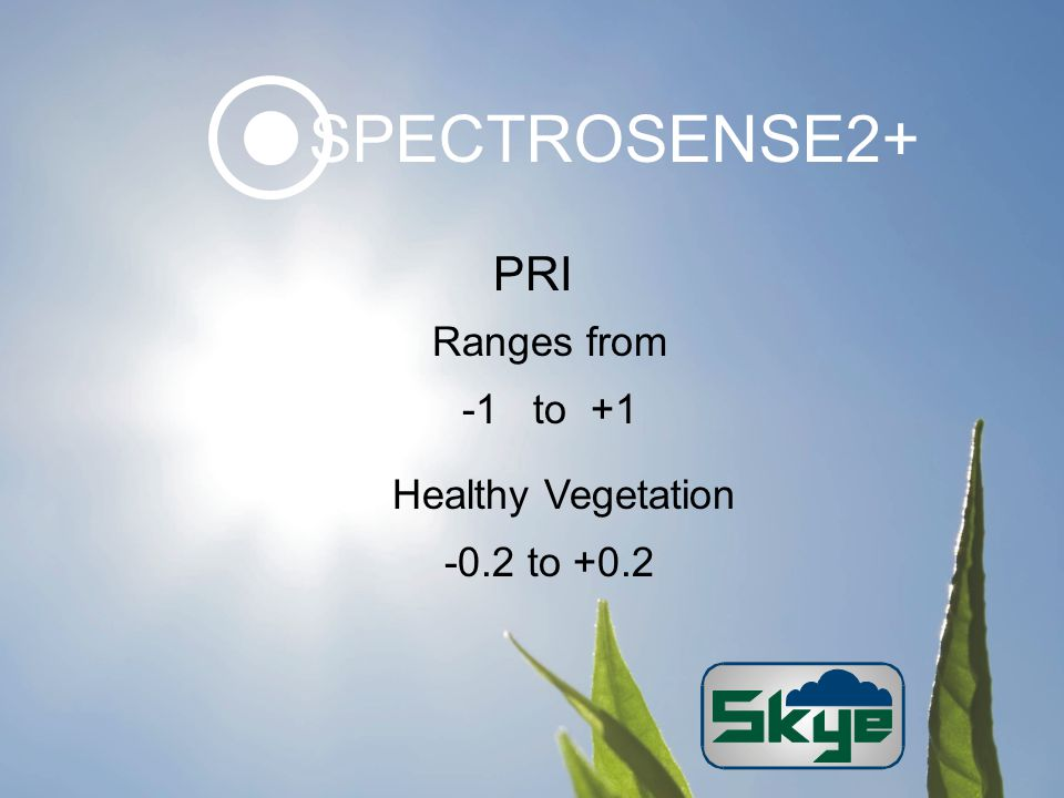 PRI Ranges from -1 to +1 Healthy Vegetation -0.2 to +0.2 SPECTROSENSE2+