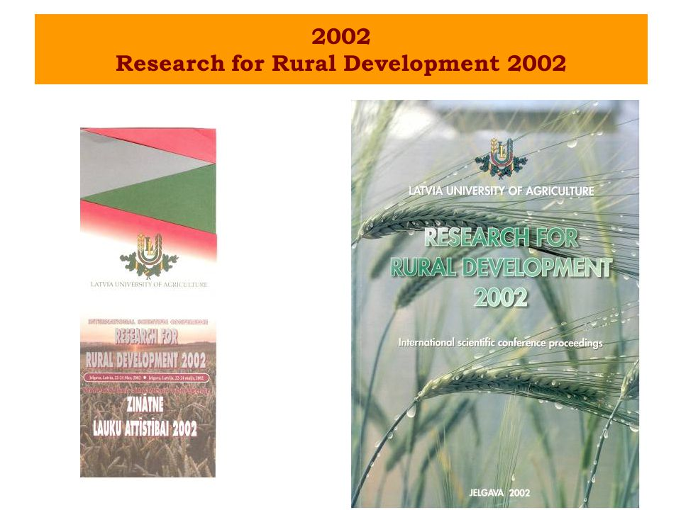 2002 Research for Rural Development 2002