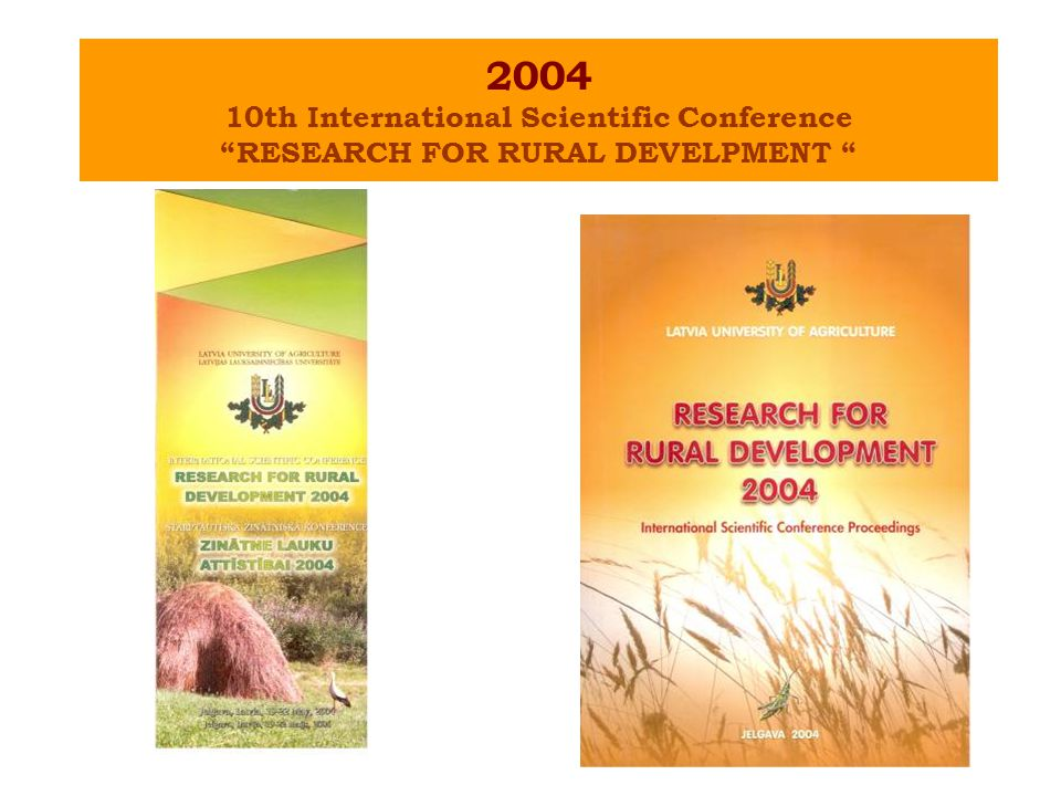 "2004 10th International Scientific Conference ""RESEARCH FOR RURAL DEVELPMENT """