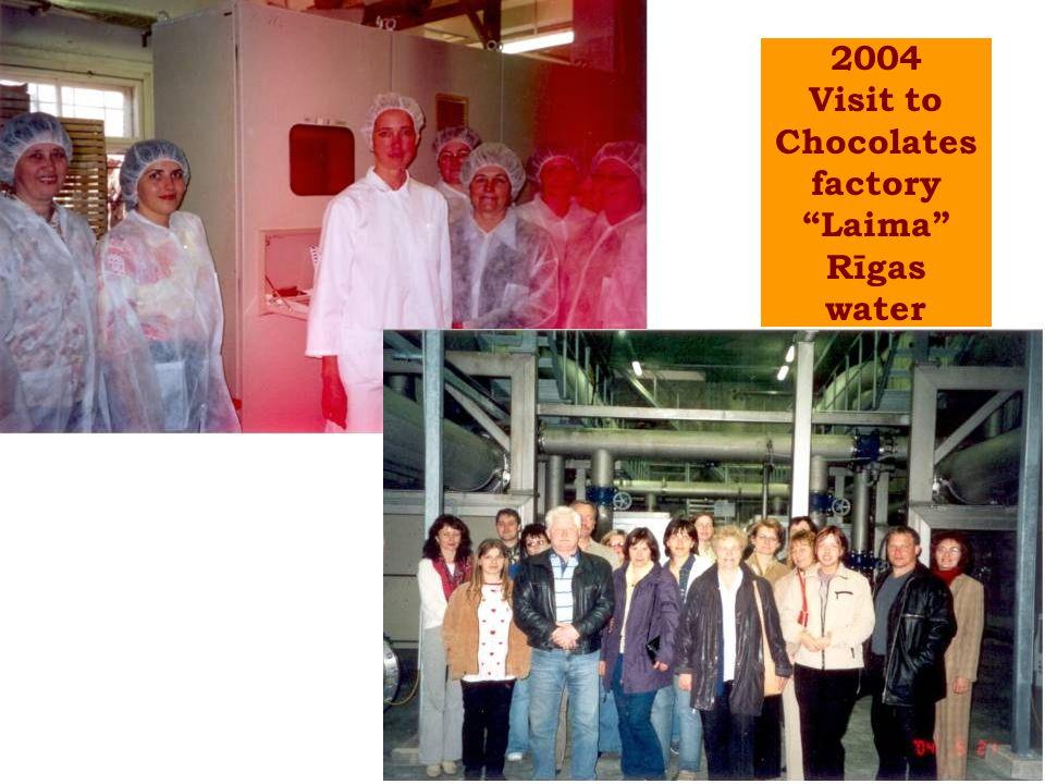 2004 Visit to Chocolates factory Laima Rīgas water