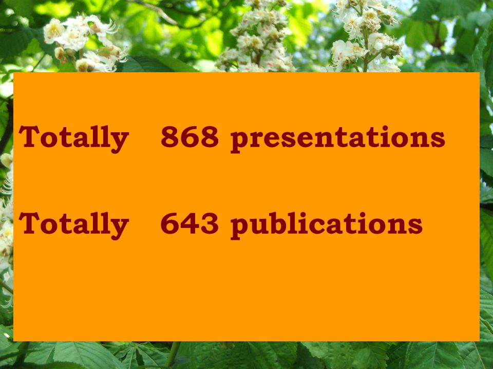 Totally 868 presentations Totally 643 publications