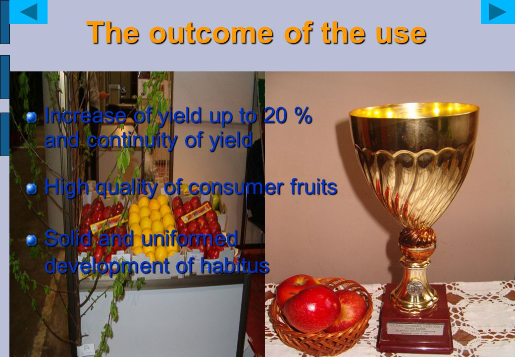 The outcome of the use Increase of yield up to 20 % and continuity of yield High quality of consumer fruits Solid and uniformed development of habitus