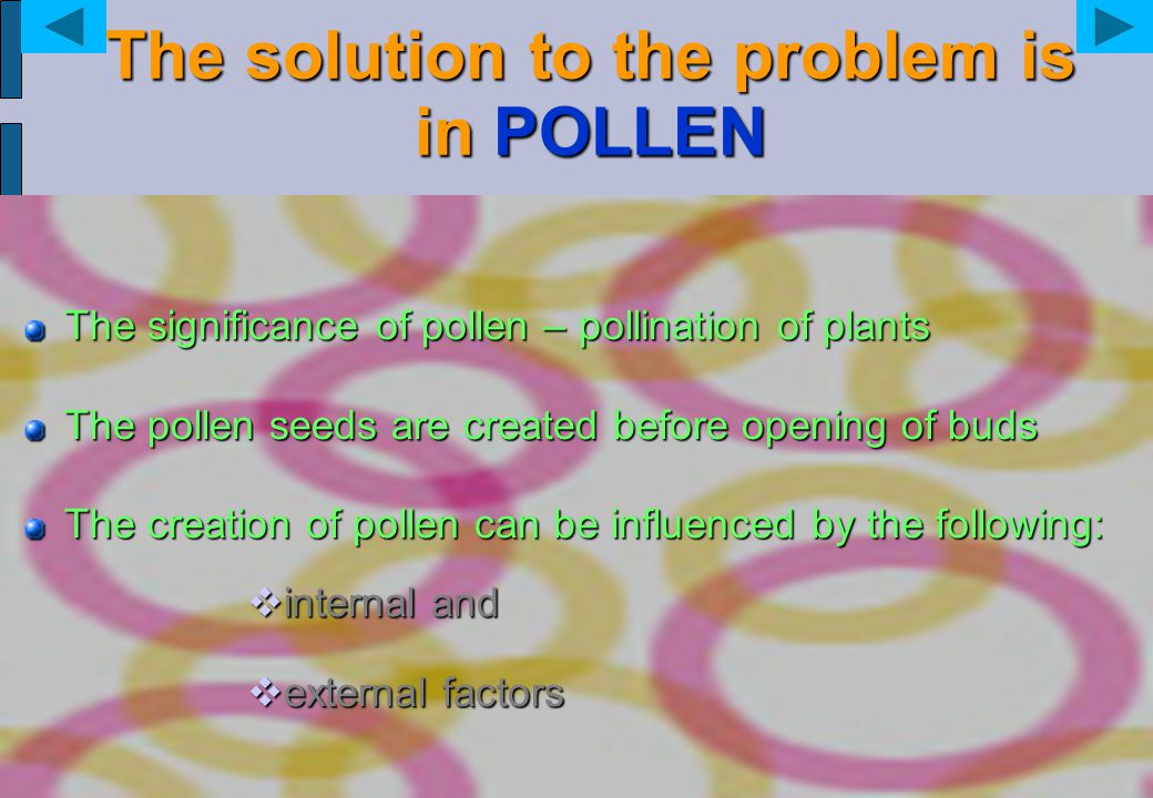The solution to the problem is in POLLEN The significance of pollen – pollination of plants The pollen seeds are created before opening of buds The cr