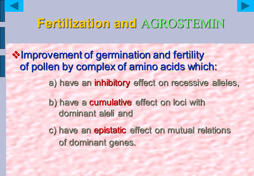 Fertilization and AGROSTEMIN  Improvement of germination and fertility of pollen by complex of amino acids which: a) have an inhibitory effect on rec