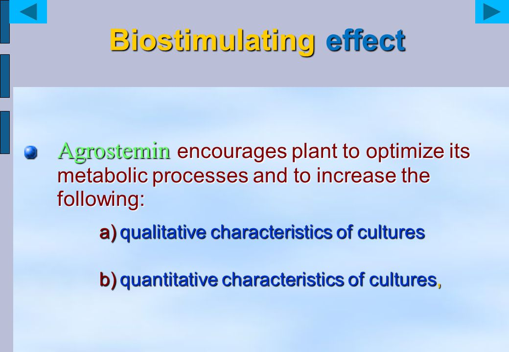 Biostimulating effect Agrostemin encourages plant to optimize its metabolic processes and to increase the following: a)qualitative characteristics of cultures b)quantitative characteristics of cultures,