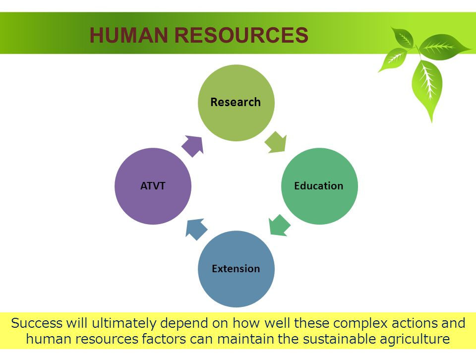 HUMAN RESOURCES Research EducationExtensionATVT Success will ultimately depend on how well these complex actions and human resources factors can maintain the sustainable agriculture