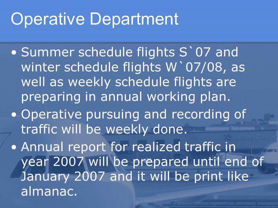 Operative Department Summer schedule flights S`07 and winter schedule flights W`07/08, as well as weekly schedule flights are preparing in annual work