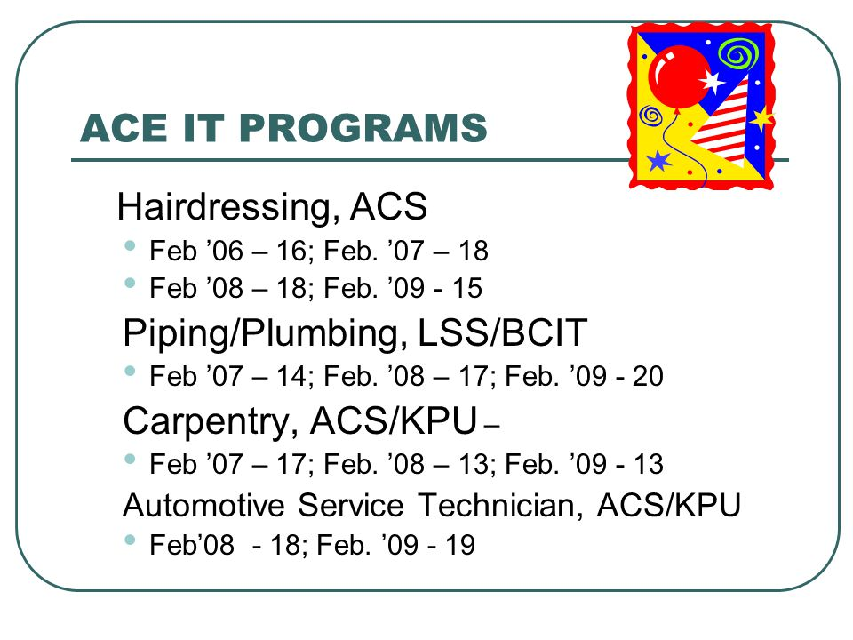 ACE IT PROGRAMS Hairdressing, ACS Feb '06 – 16; Feb.