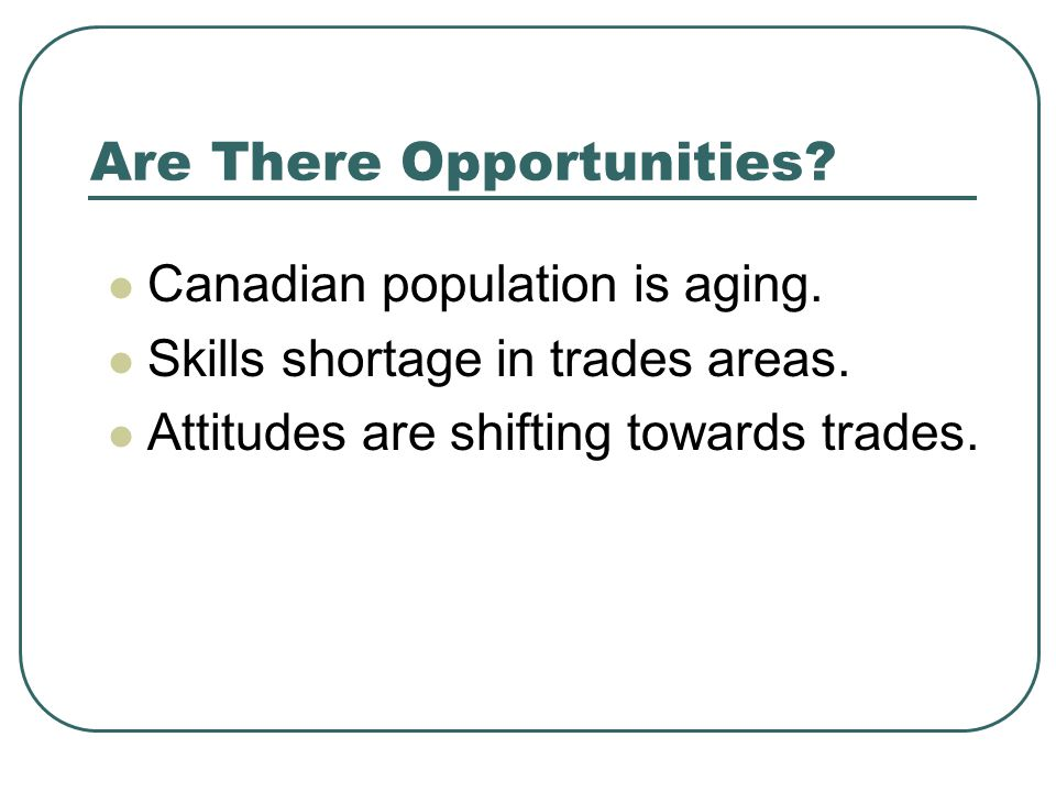 Are There Opportunities. Canadian population is aging.