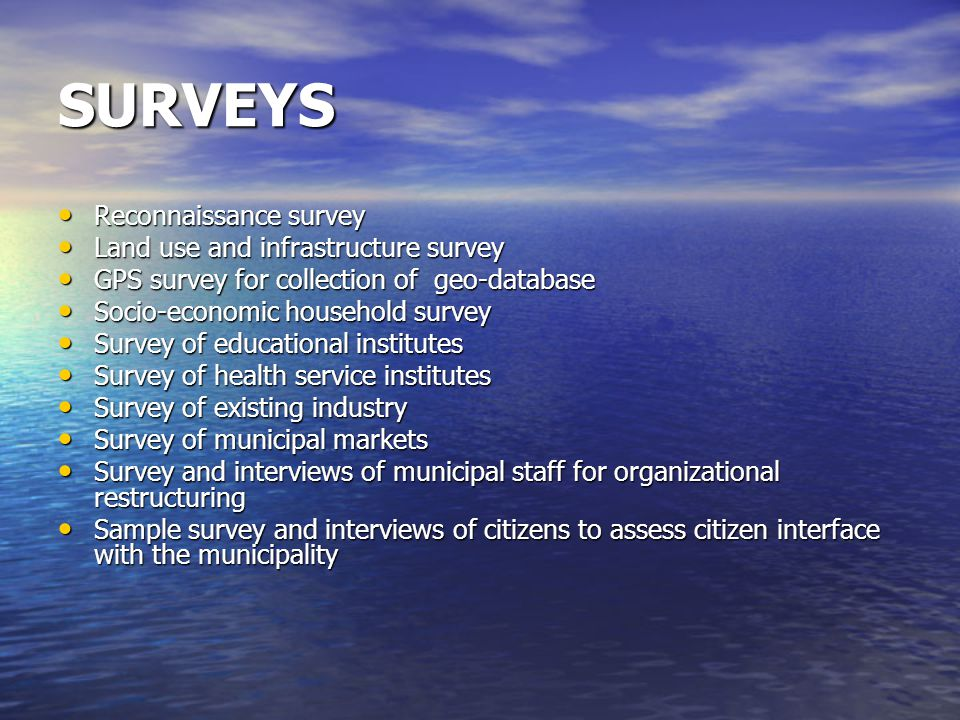 SURVEYS Reconnaissance survey Reconnaissance survey Land use and infrastructure survey Land use and infrastructure survey GPS survey for collection of geo-database GPS survey for collection of geo-database Socio-economic household survey Socio-economic household survey Survey of educational institutes Survey of educational institutes Survey of health service institutes Survey of health service institutes Survey of existing industry Survey of existing industry Survey of municipal markets Survey of municipal markets Survey and interviews of municipal staff for organizational restructuring Survey and interviews of municipal staff for organizational restructuring Sample survey and interviews of citizens to assess citizen interface with the municipality Sample survey and interviews of citizens to assess citizen interface with the municipality
