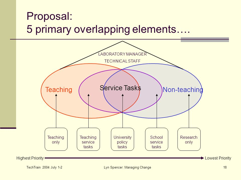 TechTrain 2004 July 1-2 Lyn Spencer: Managing Change18 Proposal: 5 primary overlapping elements…. Service Tasks TeachingNon-teaching LABORATORY MANAGE