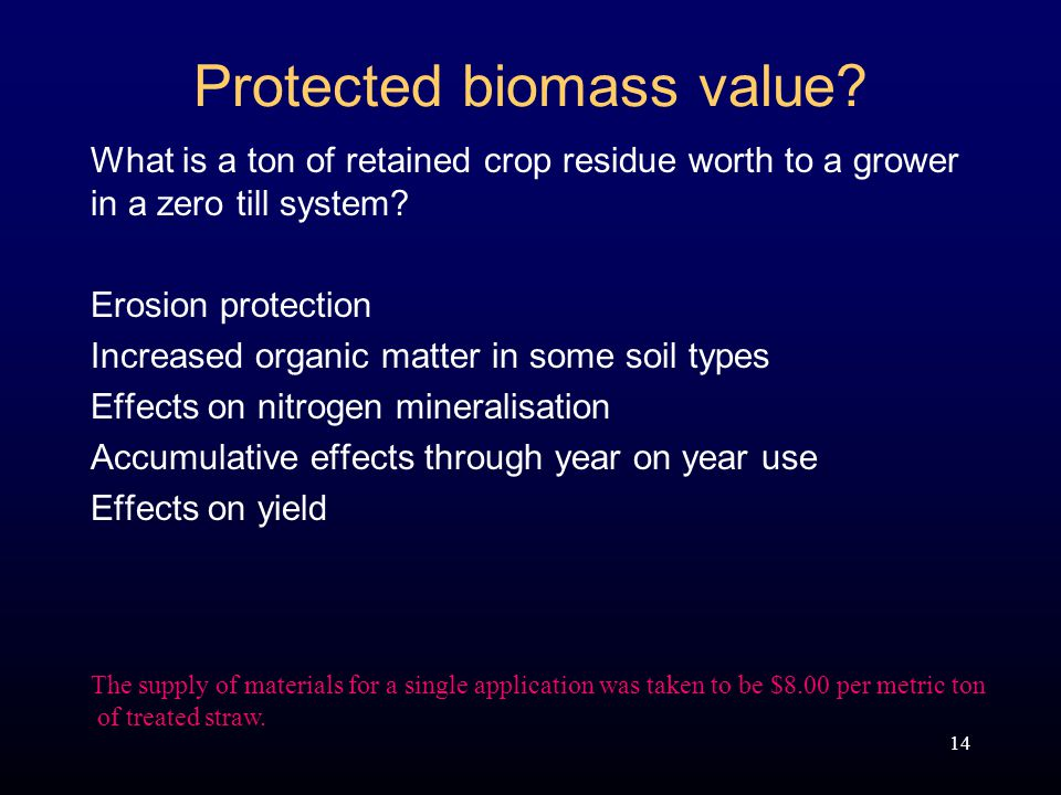 14 Protected biomass value.