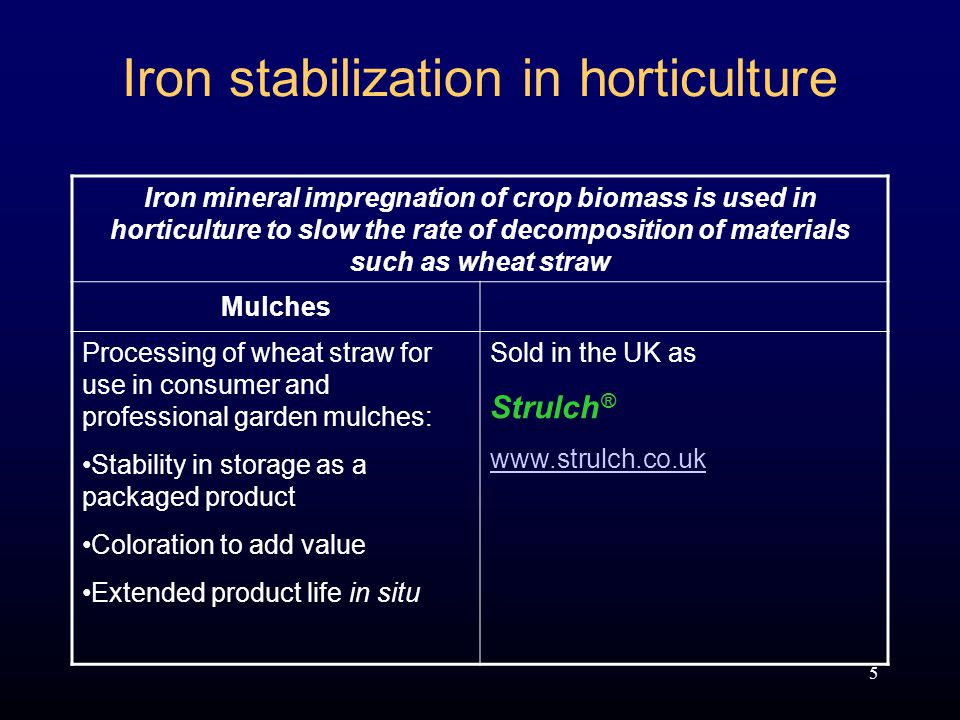 5 Iron stabilization in horticulture Iron mineral impregnation of crop biomass is used in horticulture to slow the rate of decomposition of materials such as wheat straw Mulches Processing of wheat straw for use in consumer and professional garden mulches: Stability in storage as a packaged product Coloration to add value Extended product life in situ Sold in the UK as Strulch ® www.strulch.co.uk