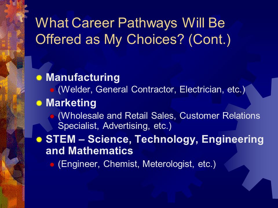 What Career Pathways Will Be Offered as My Choices.