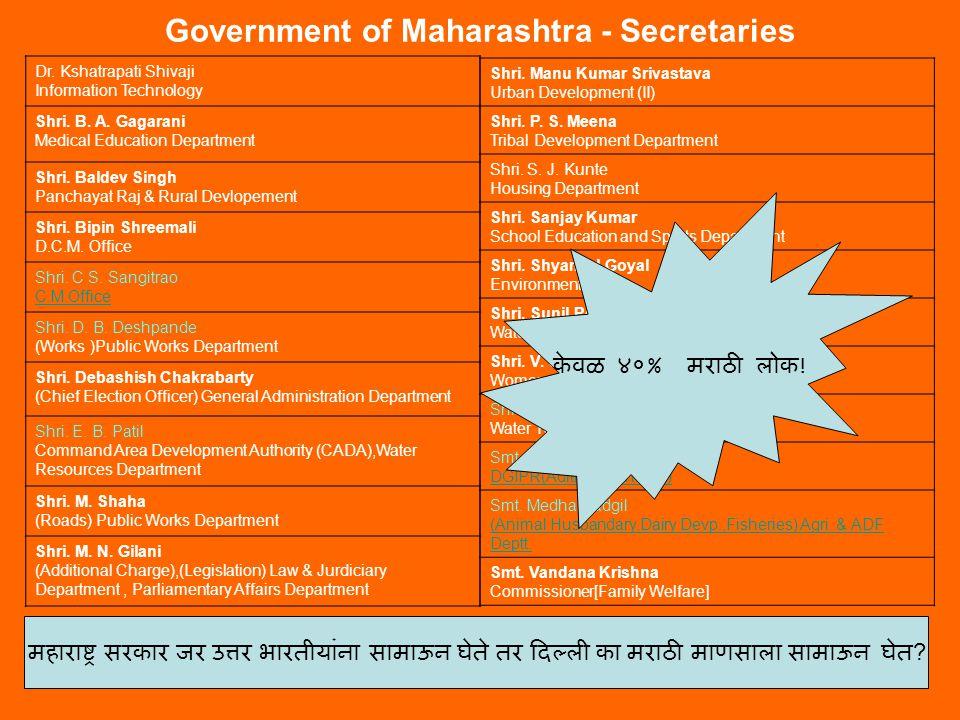 Government of Maharashtra – Principle Secretaries Shri.