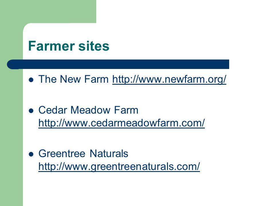 Farmer sites The New Farm http://www.newfarm.org/http://www.newfarm.org/ Cedar Meadow Farm http://www.cedarmeadowfarm.com/ http://www.cedarmeadowfarm.