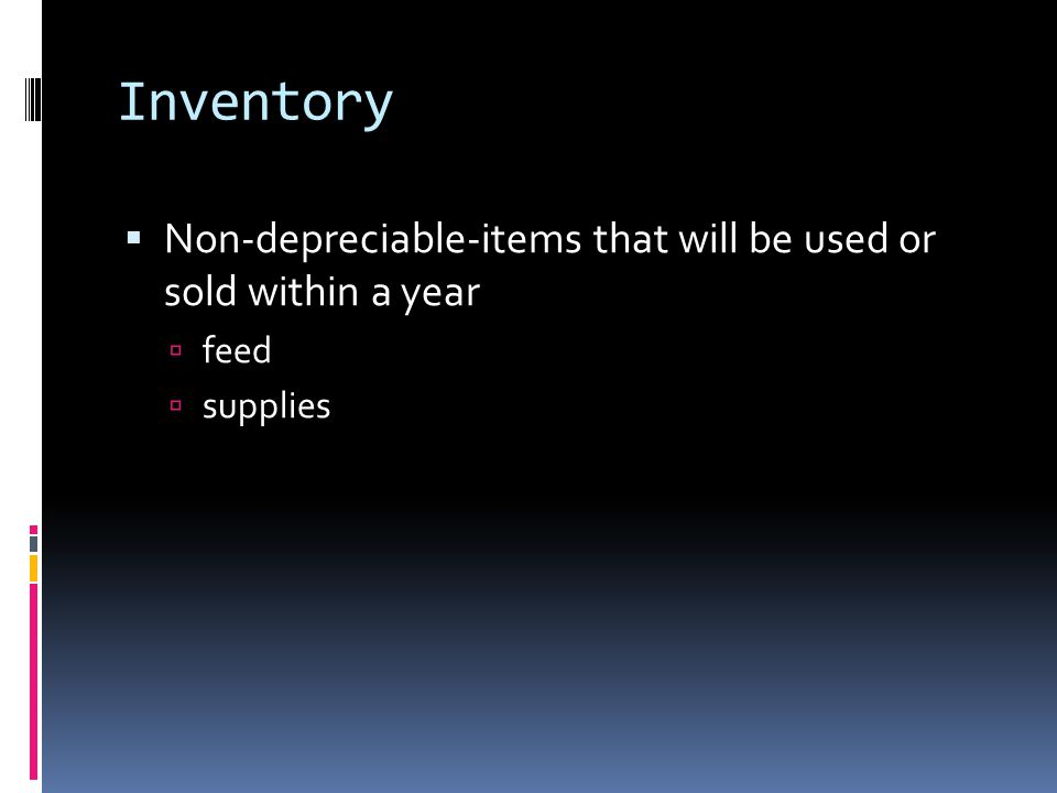 Inventory  An itemized list of things owned by a business with the beginning value and depreciated value