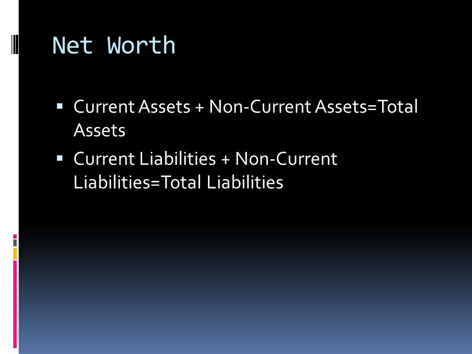 Net Worth  One's assets minus their liabilities.