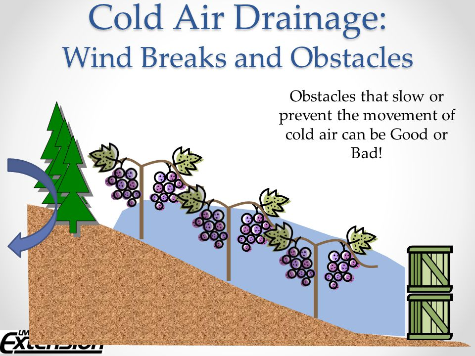 Must be turned on before freezing temperatures are reached Can cover a 10A area – head rotates to cover area o Area of protection is not circular due to wind drift Highly dependent on temperature inversion Placement should be done by a professional Power source: gas, diesel, electric, PTO Can cause more damage during an advective freeze Cost ~ $30,000 for new