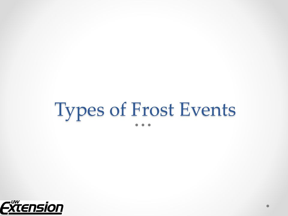 Types of Frost Events