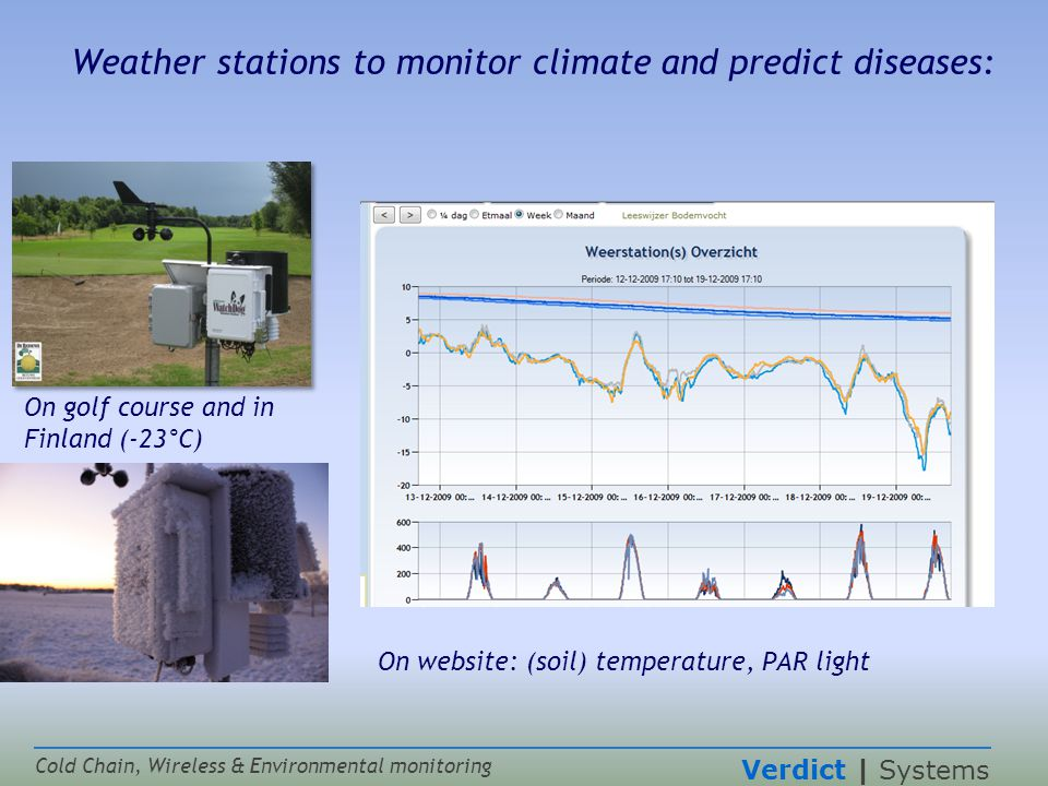 Verdict | Systems Cold Chain, Wireless & Environmental monitoring Weather stations to monitor climate and predict diseases: On golf course and in Finland (-23°C) On website: (soil) temperature, PAR light