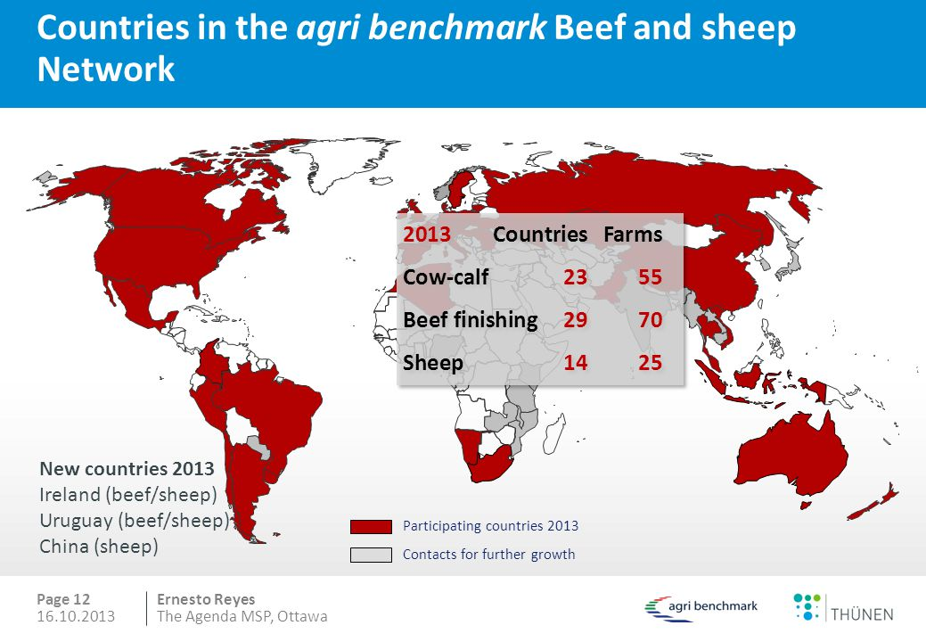 Ernesto Reyes Countries in the agri benchmark Beef and sheep Network Page 12 New countries 2013 Ireland (beef/sheep) Uruguay (beef/sheep) China (sheep