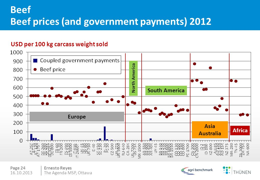Ernesto Reyes Page 24 Beef Beef prices (and government payments) 2012 USD per 100 kg carcass weight sold North America South America Asia Australia Africa Europe 16.10.2013The Agenda MSP, Ottawa