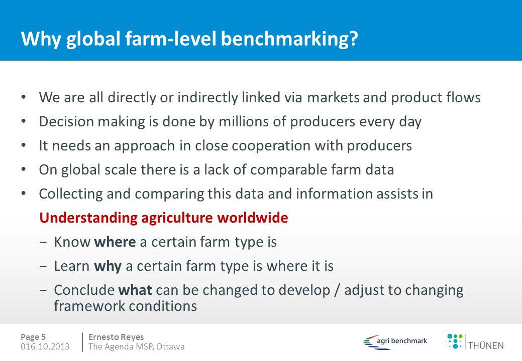 Ernesto Reyes Why global farm-level benchmarking.