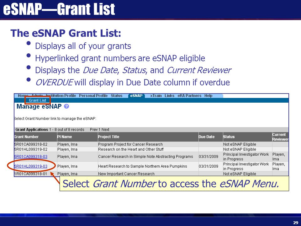 eSNAP—Grant List The eSNAP Grant List: Displays all of your grants Hyperlinked grant numbers are eSNAP eligible Displays the Due Date, Status, and Current Reviewer OVERDUE will display in Due Date column if overdue Select Grant Number to access the eSNAP Menu.