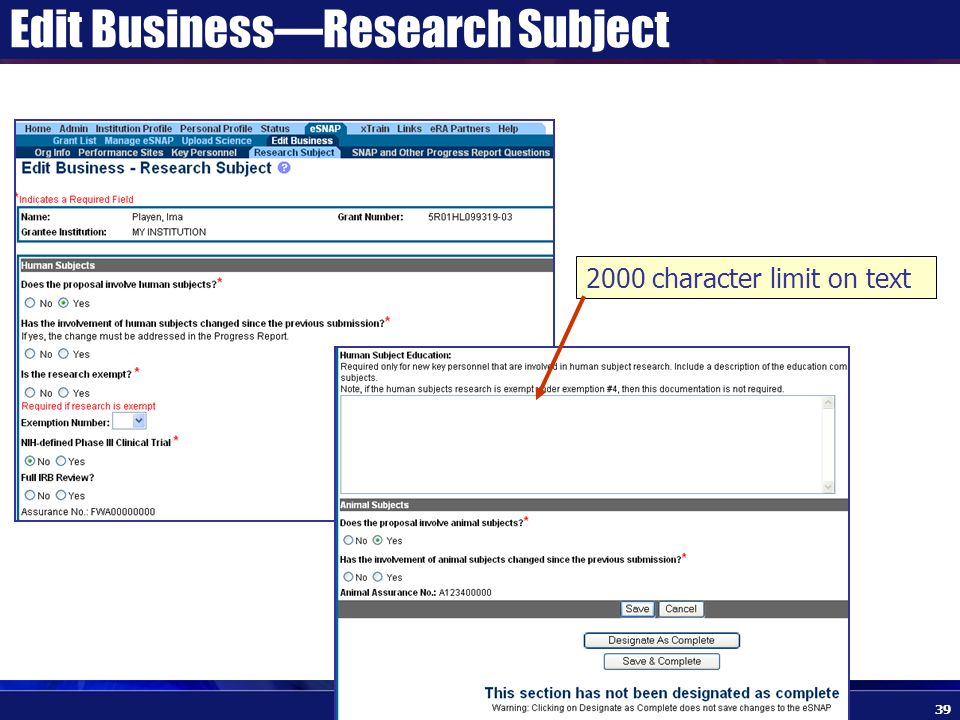 Edit Business—Research Subject 2000 character limit on text 39