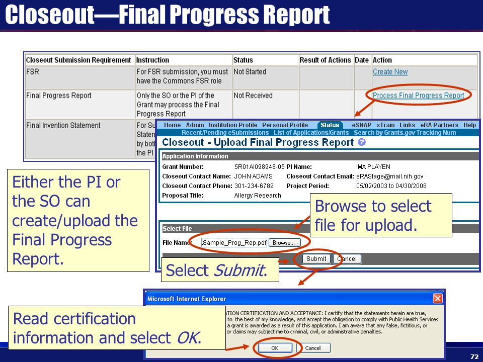 Closeout—Final Progress Report Either the PI or the SO can create/upload the Final Progress Report.