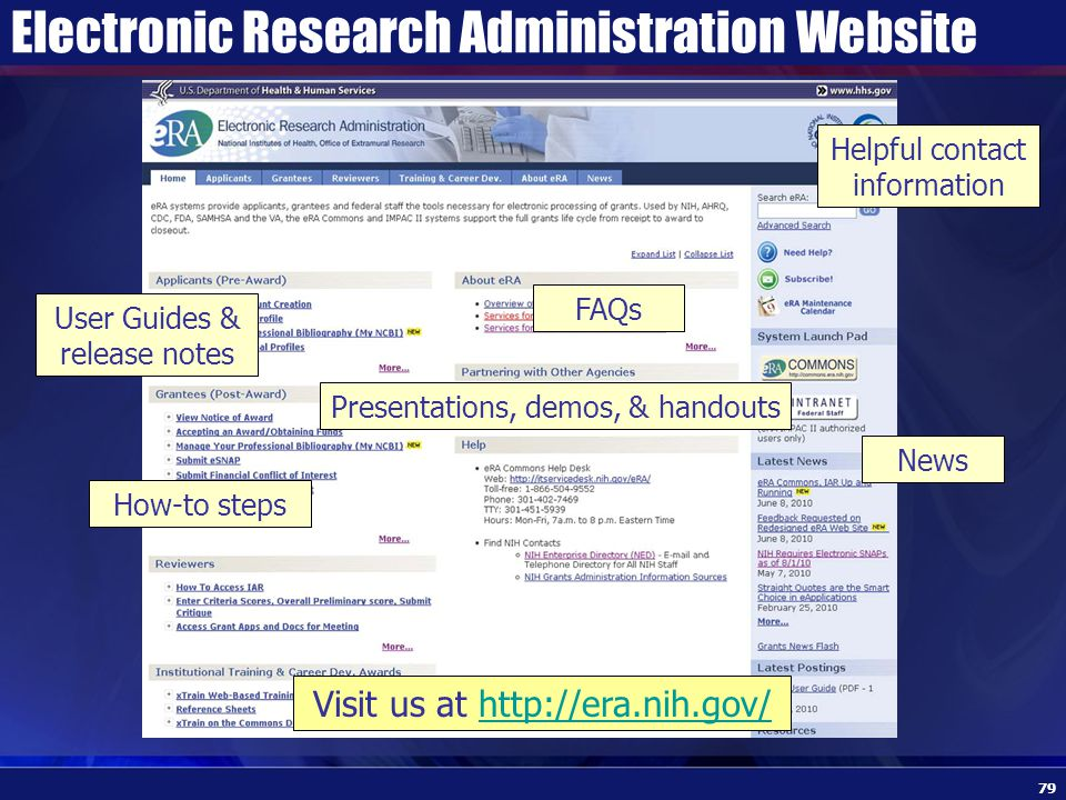 Electronic Research Administration Website 79 Visit us at http://era.nih.gov/http://era.nih.gov/ Presentations, demos, & handouts How-to steps FAQs User Guides & release notes News Helpful contact information