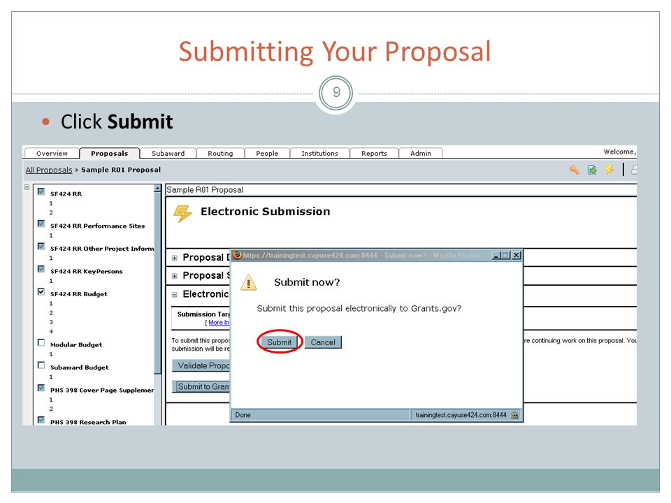 Submitting Your Proposal 9 Click Submit
