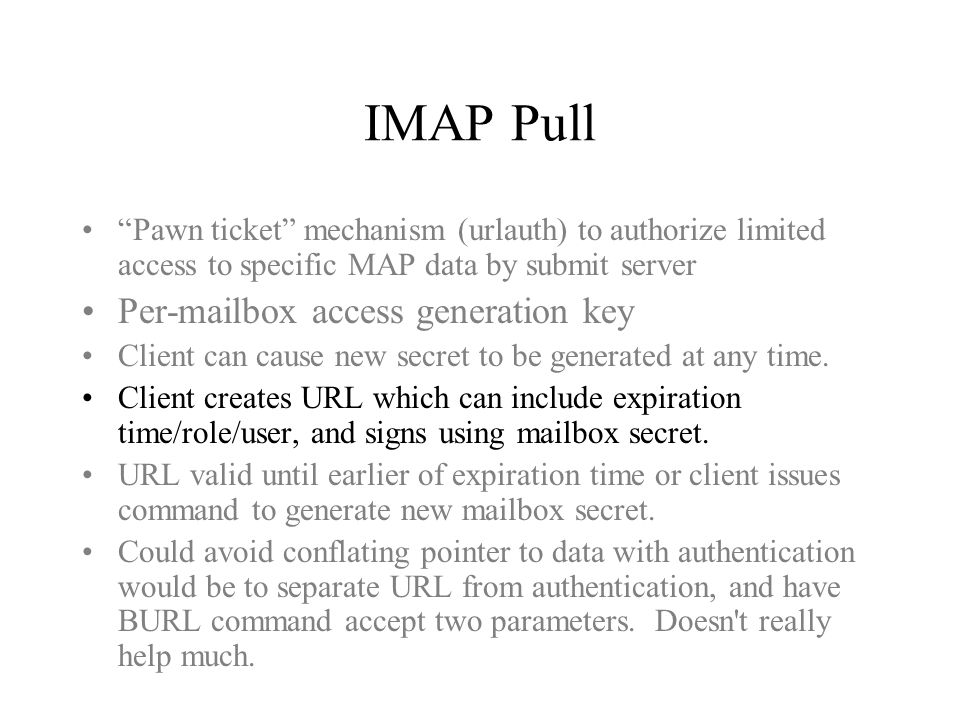 IMAP Pull Cons Submit server needs to support a subset of IMAP FETCH.