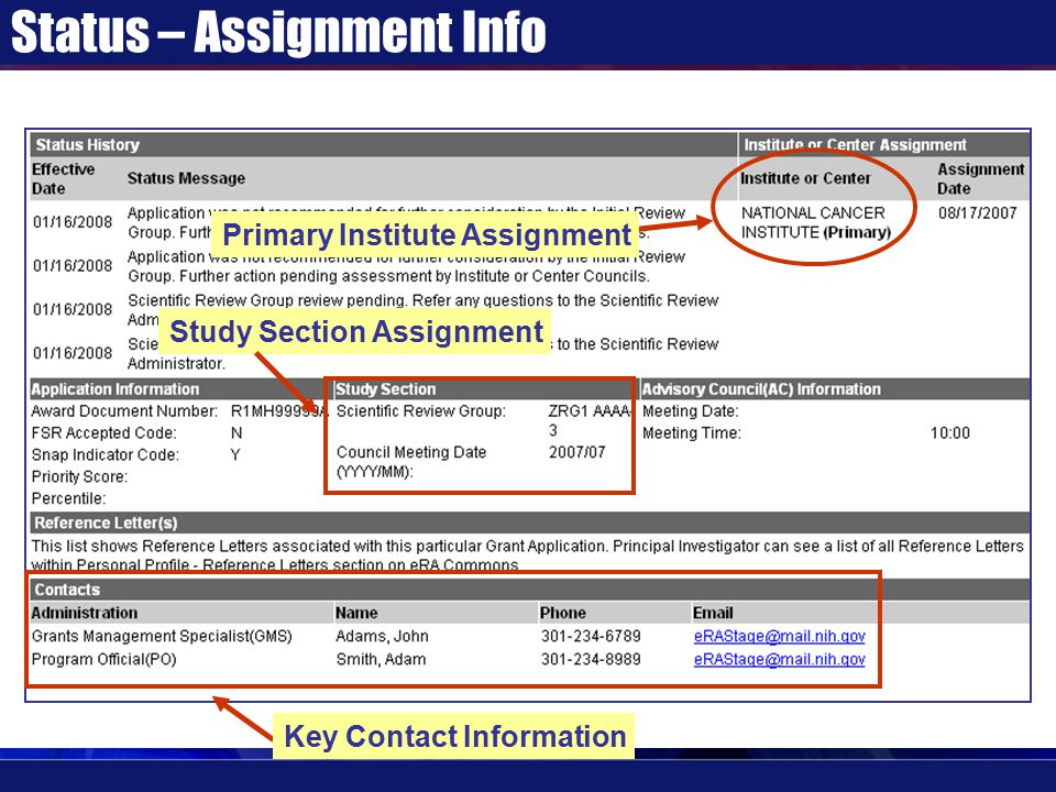 Status – Assignment Info Primary Institute Assignment Study Section Assignment Key Contact Information