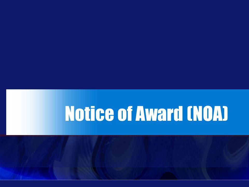 Notice of Award (NOA)