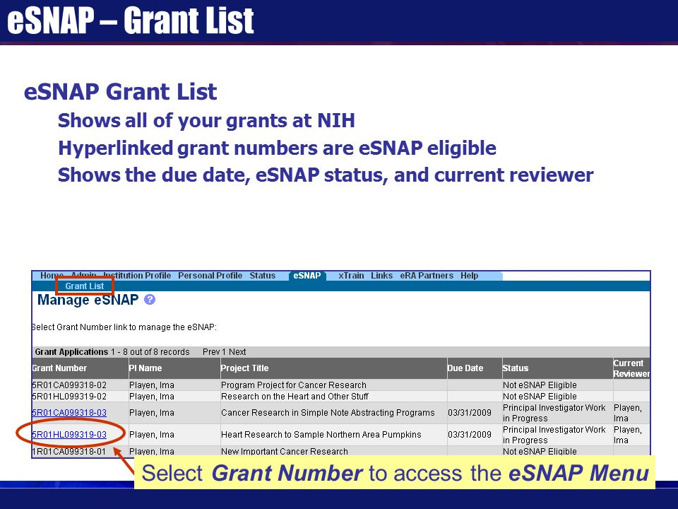 eSNAP – Grant List eSNAP Grant List Shows all of your grants at NIH Hyperlinked grant numbers are eSNAP eligible Shows the due date, eSNAP status, and