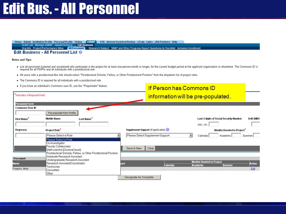 Edit Bus. - All Personnel If Person has Commons ID information will be pre-populated.
