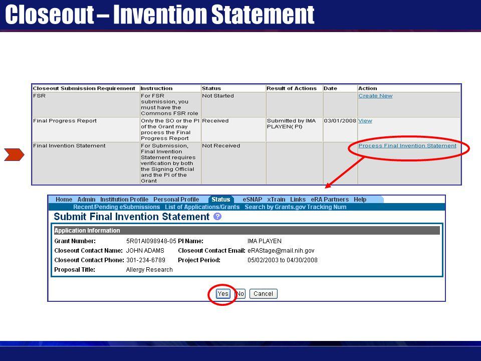 Closeout – Invention Statement