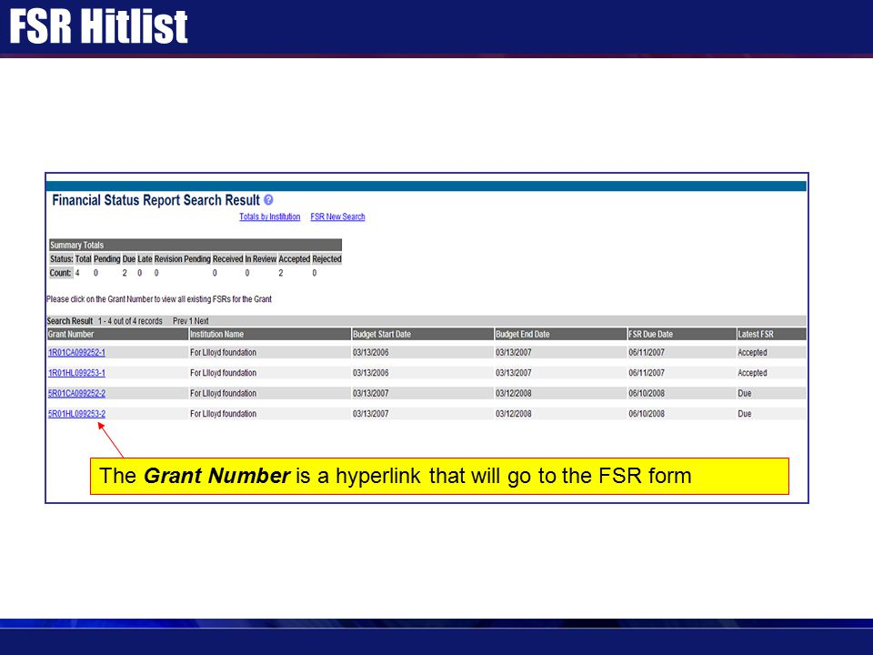 FSR Hitlist The Grant Number is a hyperlink that will go to the FSR form