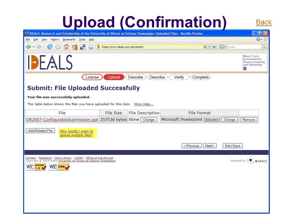 Upload (Confirmation) Back