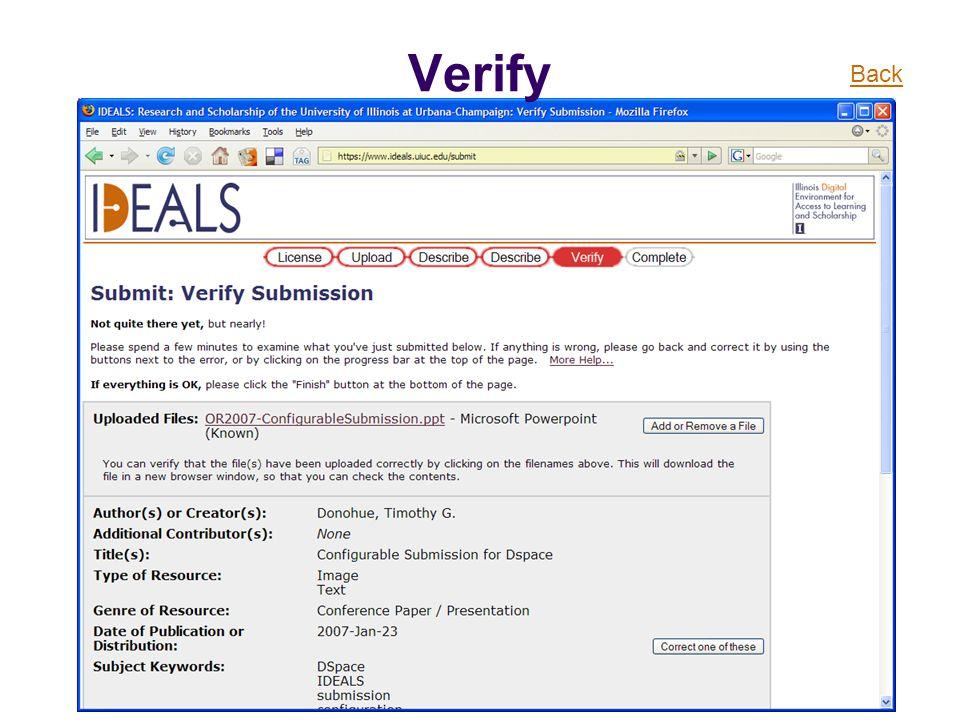 Verify Back
