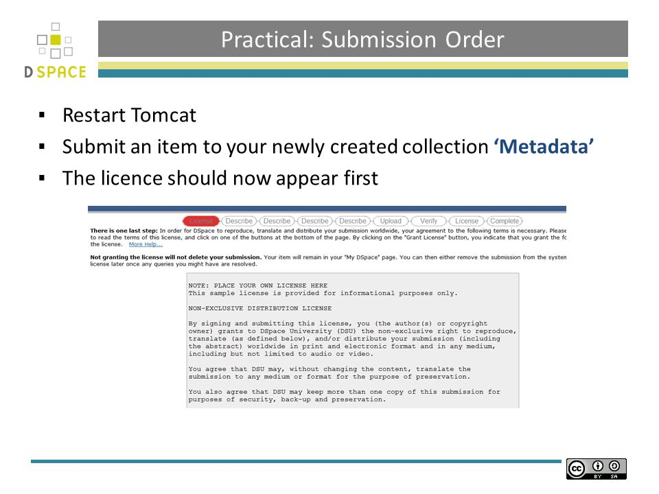 Practical: Submission Order  Restart Tomcat  Submit an item to your newly created collection 'Metadata'  The licence should now appear first