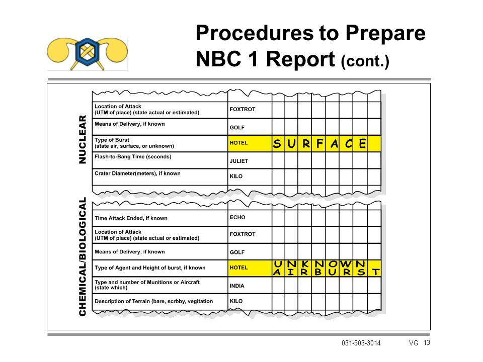 13 031-503-3014 VG Procedures to Prepare NBC 1 Report (cont.)